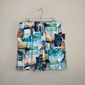 NWT Croft & Barrow Men's Floral/Beachy Swim Trunks